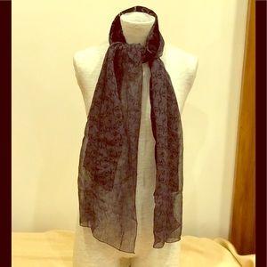Black and grey silk and velvet rectangular scarf.